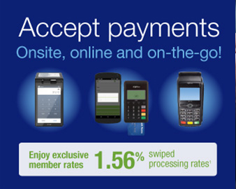 Elavon. Accept payments Onsite, online and on the go!. Enjoy exclusive member rates 1.56% swiped processing rates. Learn More or call 1-855-533-8111.