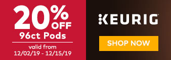 Keurig. 96 ct pods. 20% OFF. Valid 12/0219 - 12/15/19. While quantities last. Shop Now.