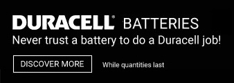 Duracell Batteries. While quantities last. Discover More.