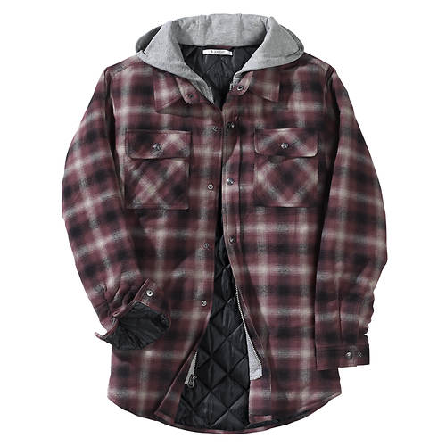 Men S Hooded Flannel Shirt Jacket Color Out Of Stock