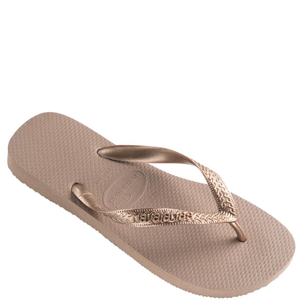 Havaianas Women's Top Tiras Sandal Flip Flop, Rose Gold, 39 BR/9/10 W US