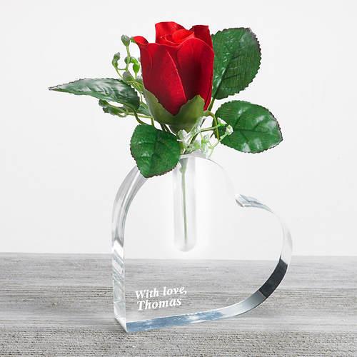 Buy Personalized Rose Heart Vase