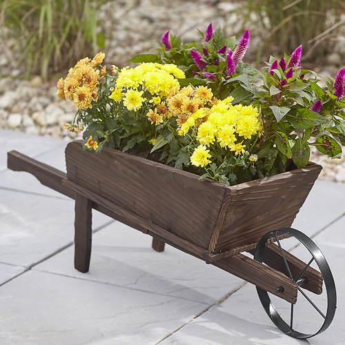 Wooden Wheelbarrow Planter Stoneberry