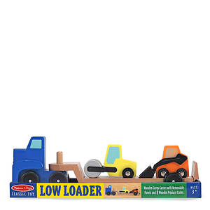 Melissa Doug Low Loader Wooden Vehicles Play Set
