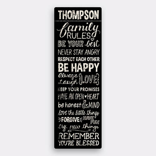 Personalized Family Rules Canvas-Black | Figi\'s Gifts in Good Taste