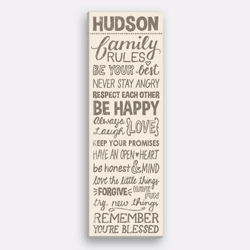 Personalized Family Rules Canvas-Tan | Figi\'s Gallery