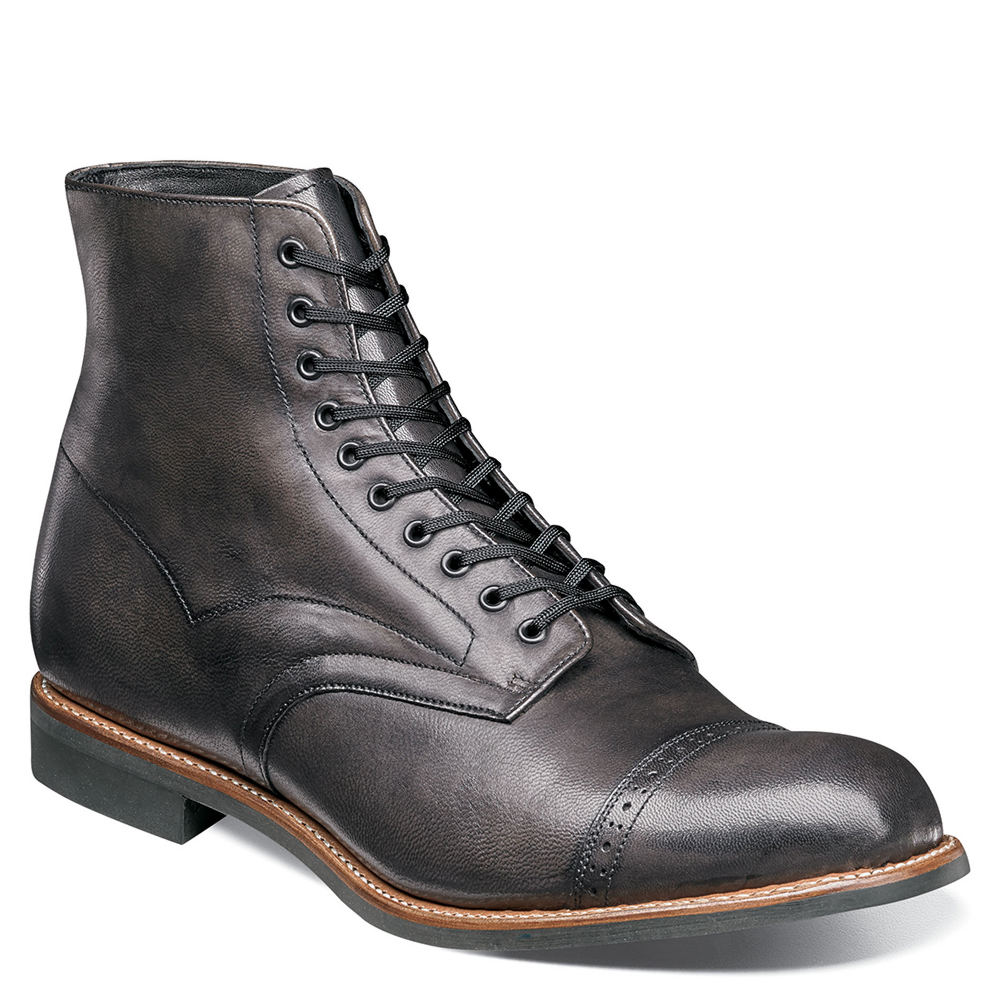 1920s Style Mens Shoes | Peaky Blinders Boots Stacy Adams Madison Mens Brown Boot 8 D $134.95 AT vintagedancer.com