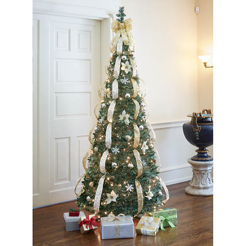 decorated pre lit pull up tree gold figis gallery