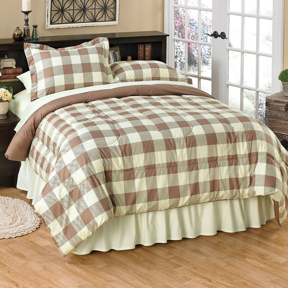 queen plaid bauer eddie amazon check scarlet com mountain set buffalo kitchen full dp comforter red home