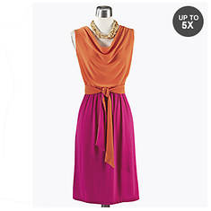Drape Front Color Block Dress