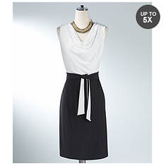 Drape Front Color Block Dress
