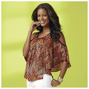 Zig-Zag Cold Shoulder Top