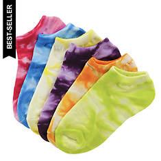 Sof Sole Girls' 6-Pack Neon Tie Dye No Show Socks