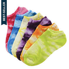 Sof Sole Girls' 6-Pack Neon Tie Dye No Show Socks