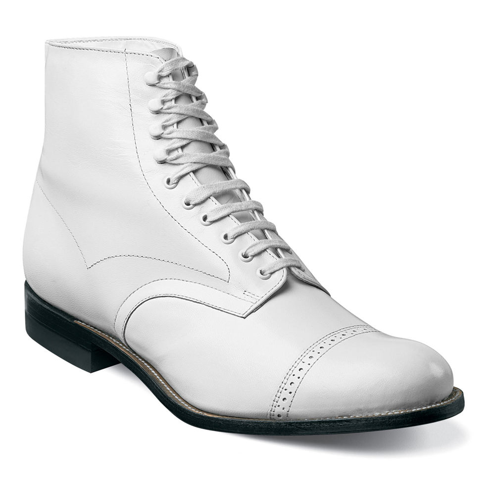 1920s Style Mens Shoes | Peaky Blinders Boots Stacy Adams Madison Hi Top Mens White Boot 8.5 D $134.95 AT vintagedancer.com