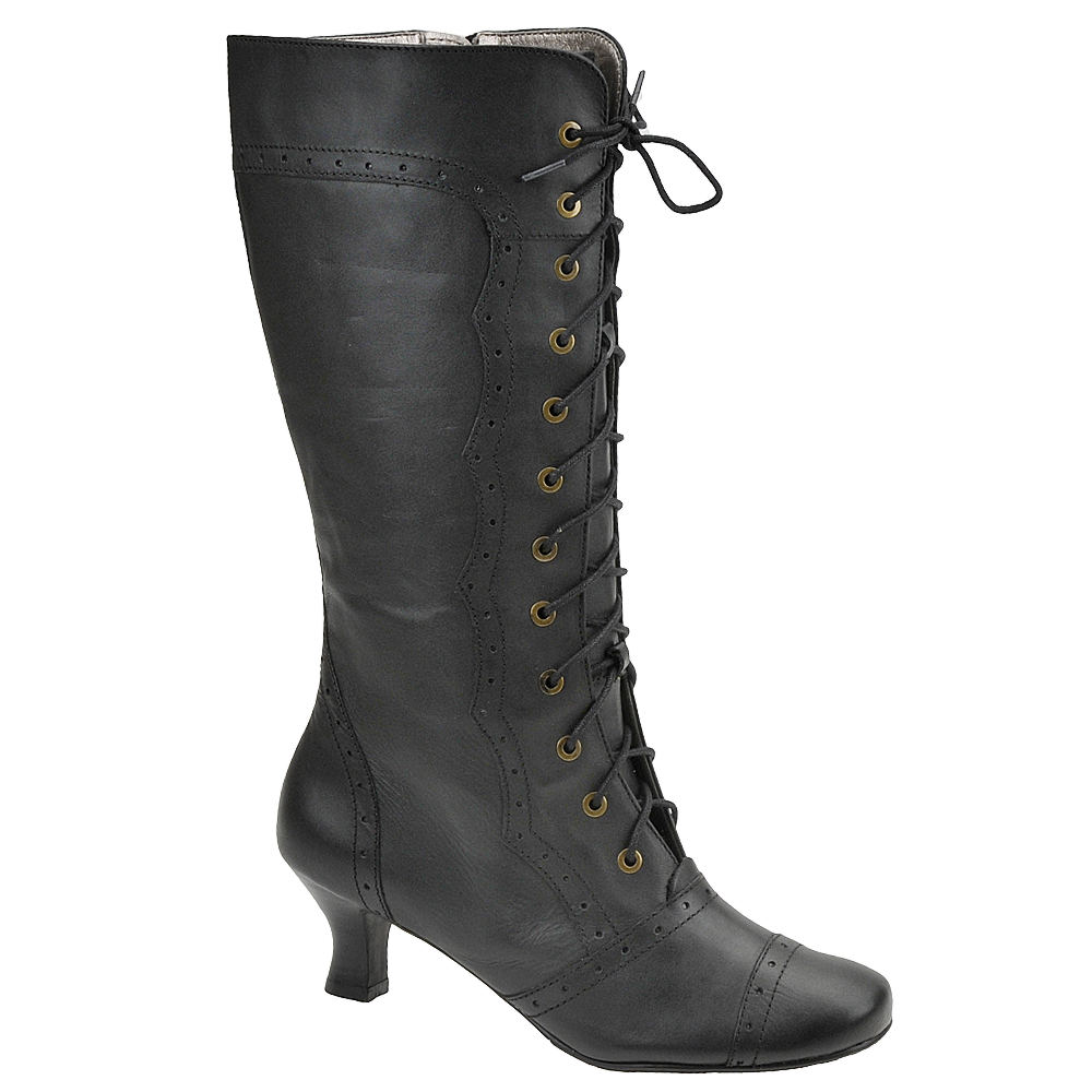 Retro Vintage Style Wide Shoes Array Womens Vintage 12 Black Boot 5.5 M $186.95 AT vintagedancer.com