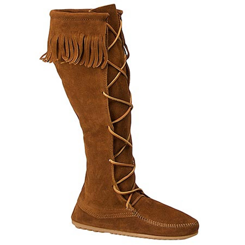 1960s Style Clothing & 60s Fashion Minnetonka Womens Front Lace Hardsole Brown Boot 8 M $99.95 AT vintagedancer.com