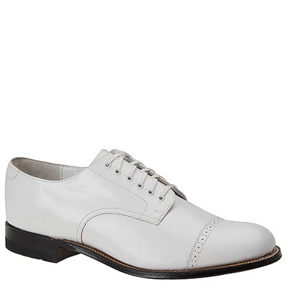 1920s Style Mens Shoes | Peaky Blinders Boots Stacy Adams MADISON 00012 Mens White Oxford 8 D $119.95 AT vintagedancer.com