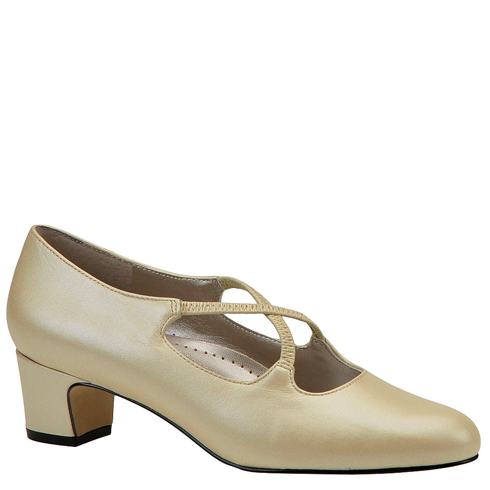 Swing Dance Shoes- Vintage, Lindy Hop, Tap, Ballroom Trotters Womens Jamie Pump White Pump 10 D $89.95 AT vintagedancer.com