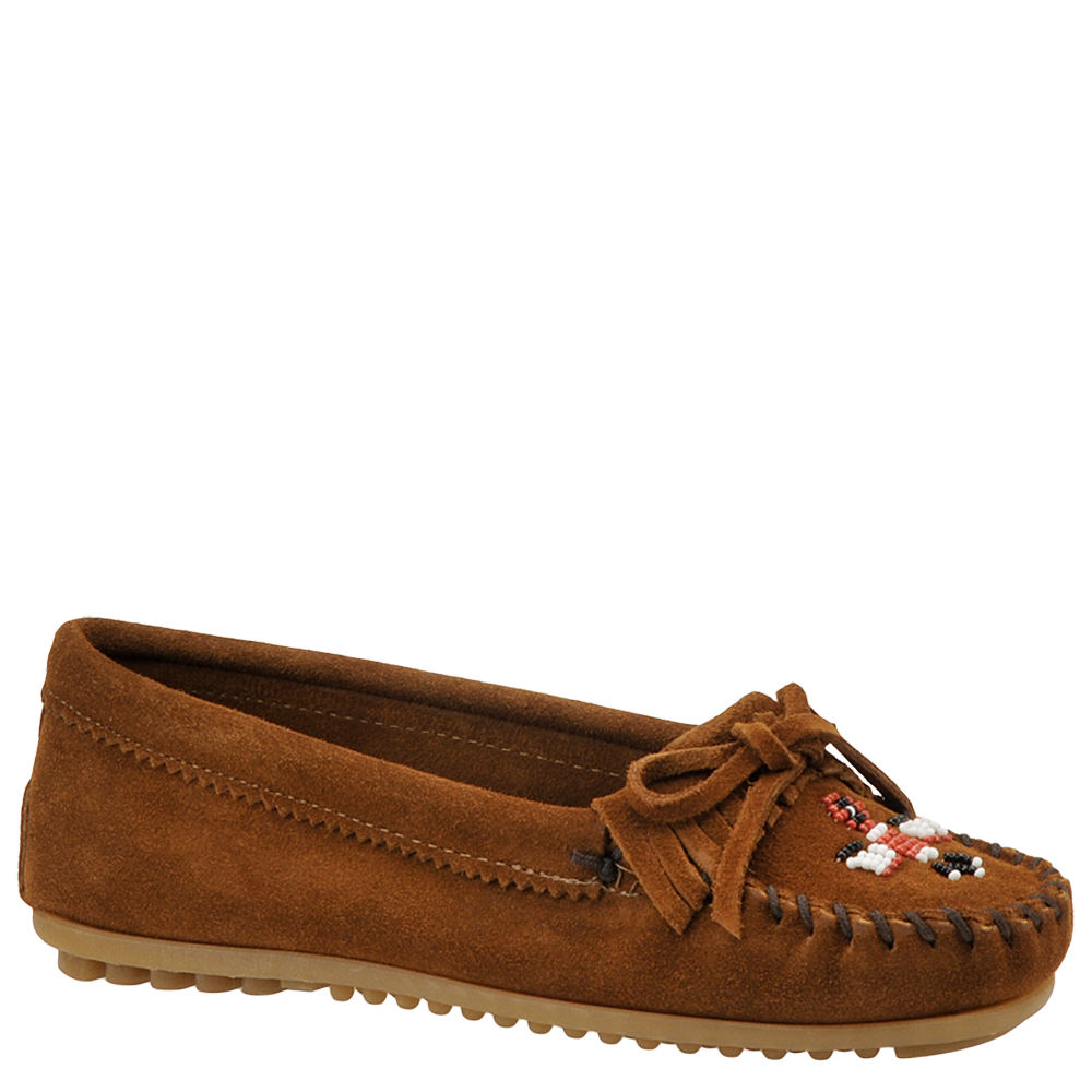 Retro Vintage Flats and Low Heel Shoes Minnetonka Womens Thunderbird II Slip-On Brown Slip On 11 M $54.95 AT vintagedancer.com
