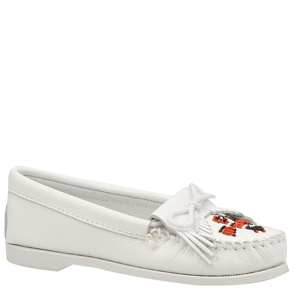 80s Shoes, Sneakers, Jelly flats Minnetonka Womens Thunderbird Moccasin White Slip On 8.5 M $54.95 AT vintagedancer.com