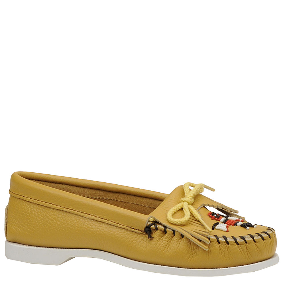 Retro Vintage Flats and Low Heel Shoes Minnetonka Womens Thunderbird Moccasin Bone Slip On 8 M $59.95 AT vintagedancer.com