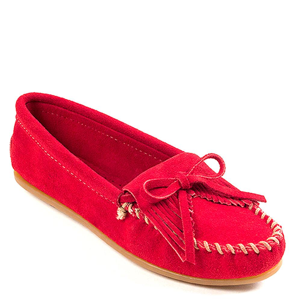 Retro Vintage Flats and Low Heel Shoes Minnetonka KILTY MOC Womens Red Slip On 9.5 M $49.95 AT vintagedancer.com