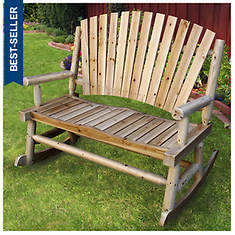 Adirondack Cedar/Fir Log Double Rocking Chair