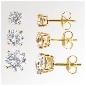 3-Piece Round CZ Earring Set