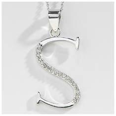 CZ Initial Pendant Necklace