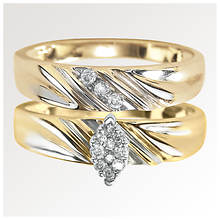 Marquise Etched Wedding Band Set