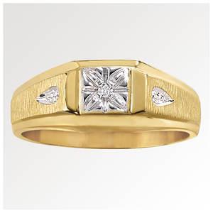 Men's Facet 10K Gold/Diamond Ring