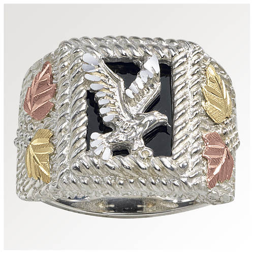 Black Hills Gold Men's Onyx SS Eagle Ring