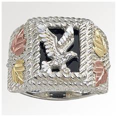Black Hills Gold Men's Onyx SS Eagle Ring