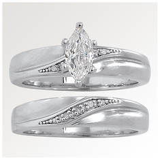 Marquise CZ & Diamond Wedding Set