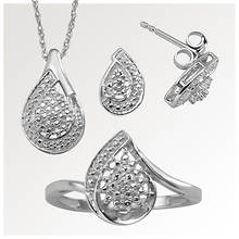 Diamond Pear Necklace, Earring & Ring Set
