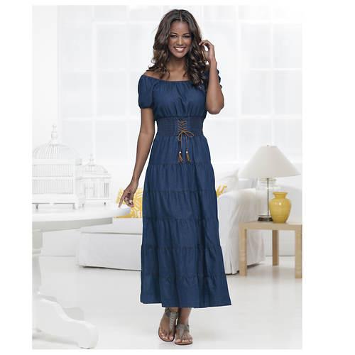 Denim Tiered Maxi Dress