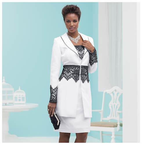 Lace-Trim Suit Dress