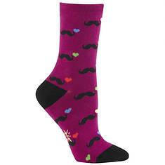 Sock It To Me Women's L Love Mustaches Crew Socks