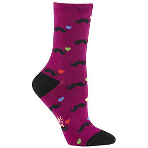 Sock It To Me Women's L Love Mustaches Crew Socks