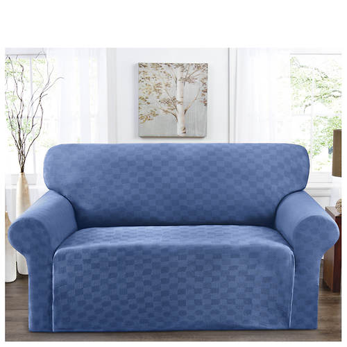 Checkerboard Stretch Slipcover - Loveseat