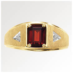 Men's 10K Gold Garnet/Diamond Ring