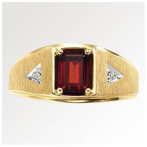 Men's 10K Gold Garnet/Diamond Ring