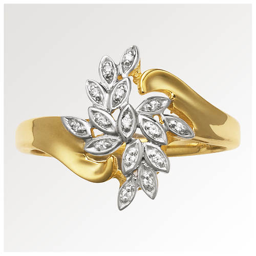 Women 39 s 10k gold diamond waterfall ring color out of for Waterfall design ring