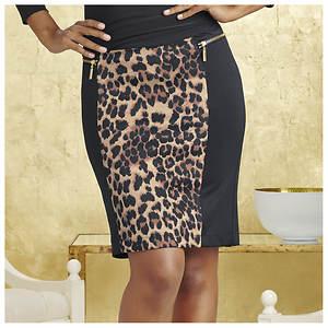 Ponte Leopard Skirt