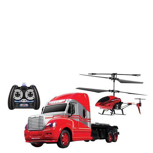 R/C Mega Hauler Truck & Helicopter Combo Pack