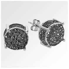 Round Sterling Silver/Black CZ Earrings