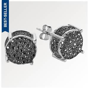 Round Sterling Silver/Black CZ Earrings