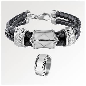 Men's Stainless/Leather Bracelet & Ring Set