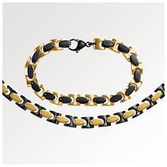 Men's Black/Gold Bracelet & Necklace Set
